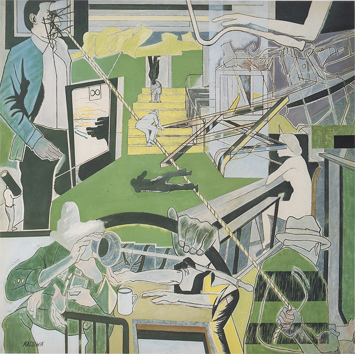 「α事件と同調する画面」1970年 カンバス・油彩 200×200cm